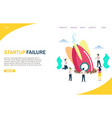 startup failure website landing page design vector image