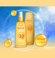 sun protection sunscreen and sunbath cosmetic vector image vector image
