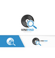 vinyl and loupe logo combination record vector image vector image