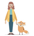 young girl with cute animal vector image
