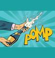 opening champagne bottles pop art vector image