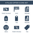 9 offer icons vector image vector image