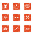 adolescent icons set grunge style vector image vector image