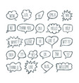 big set of comic bubbles with short messages hand vector image vector image
