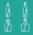 bottle with note stroke icons set vector image vector image