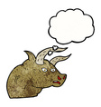 cartoon angry bull head with thought bubble vector image