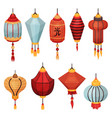chinese paper street lantern of different shapes vector image vector image