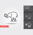 circus elephant line icon with editable stroke vector image vector image