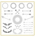 Collection of hand drawn design elements wreaths