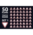 collection of traffic warning sign red vector image vector image