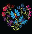 Color folk floral pattern in heart shape on black vector image vector image