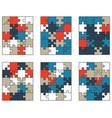 colorful puzzles isolated pieces vector image