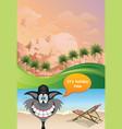 comical cat on vacation at dawn vector image vector image
