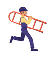construction work man ladder in uniform vector image vector image