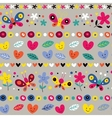 cute butterflies hearts and flowers pattern vector image