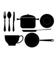 cutlery and kitchenware icons black silhouette vector image