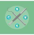 Dental instruments crosswise on color background vector image vector image