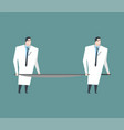 doctors carry empty stretchers medicine vector image vector image
