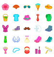 figuration icons set cartoon style vector image vector image