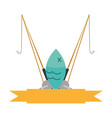 fishing rod isolated icon vector image vector image