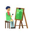 flat profession artist painting green landscape vector image