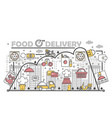 food delivery concept flat line art vector image vector image
