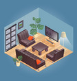 fragment of the interior with detailed isometric vector image vector image
