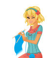 Girl knitting vector image vector image