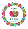 happy easter round banner with coloring eggs vector image vector image
