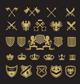 heraldic badges medieval stylized shapes swords vector image