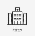 hopital flat line icon thin sign of vector image vector image