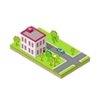 isometric icon two storey house near road vector image vector image