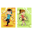 kids listening to music vector image