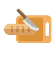 Knife and Bread on a Board Isolated Flat Style vector image vector image