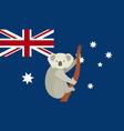 koala with australian national flag flat design vector image