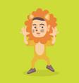 little caucasian boy wearing a lion costume vector image vector image