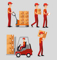 logistic services with team delivery workers vector image