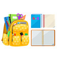 notebook and backpack chancellery sign vector image vector image