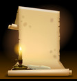 old parchment with a candle light and feather vector image vector image