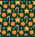 oranges cookies candy canes seamless vector image vector image