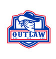 outlaw cowboy mascot shield vector image