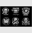 pirates design elements - set on black vector image vector image