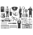 police legislation judge lawyer and detective vector image