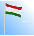 realistic flag of tajikistan fluttering in wind vector image