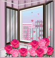 romantic view through window roses and vector image vector image