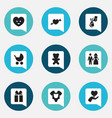 set of 9 editable kin icons includes symbols such vector image vector image