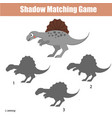 shadow matching game kids activity with dinosaur vector image vector image