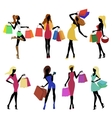 Shopping girl silhouettes vector image vector image