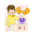speech therapy homework with a speech therapist vector image