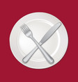 table setting set fork knife empty plate cutlery vector image